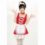 【販売終了・アダルトグッズ、大人のおもちゃアーカイブ】チェリーメイド/赤×白 ノースリーブメイド服