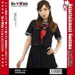【Be★With-ex】青空セーラー/半袖紺セーラー3本ラインと胸元の刺繍が豪華 ◇
