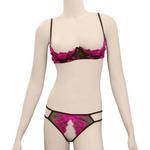 フラワー刺繍オープンブラ&ショーツ ピンク TK50418PI