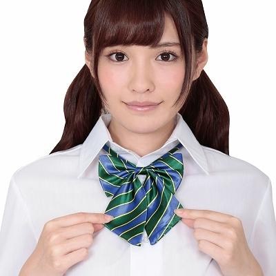 きゅん可愛スクールリボン ブルー&グリーンストライプ 商品説明画像1