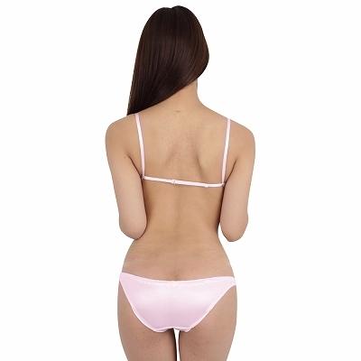 光沢ストレッチレーストップブラ&インゴムフルバック ピンク 商品説明画像2