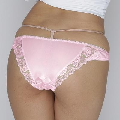 【限定50ポイント還元!・4月21日まで】光沢柔らかポケット付きレースTバック ピンク 商品説明画像2