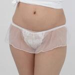レディス シースルースカート付きレース刺繍Tバック ホワイト
