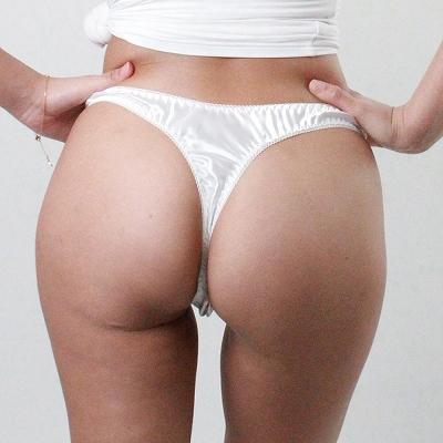 光沢ストレッチフロントレースポケット付きオープンTバック ホワイト 商品説明画像3
