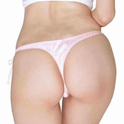 光沢サテン脇紐Tバック Lサイズ ピンク 商品説明画像2
