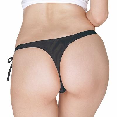 光沢サテン脇紐Tバック Lサイズ ブラック 商品説明画像2