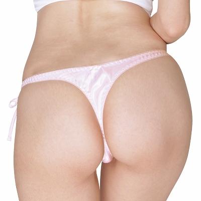 光沢サテン脇紐Tバック 2Lサイズ ピンク 商品説明画像2