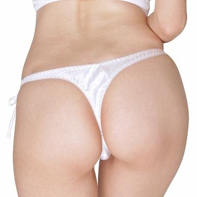 光沢サテン脇紐Tバック 2Lサイズ ホワイト 商品説明画像2