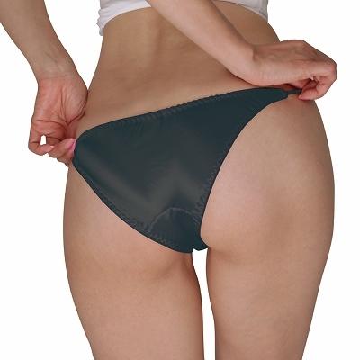 光沢サテン脇紐フルバック Lサイズ ブラック 商品説明画像2