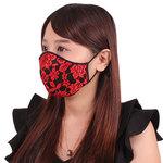 女性用 薔薇刺繍レースメッシュマスク レッド(X0140RE)
