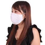 女性用 薔薇刺繍レースメッシュマスク ホワイト(X0149WH)