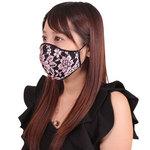 女性用 薔薇刺繍レースメッシュマスク ピンク(X0150PI)