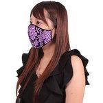 女性用 薔薇刺繍レースメッシュマスク パープル(X0151PP)